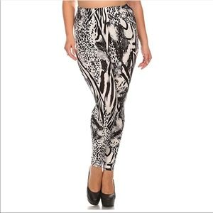 Pants - Plus Size Animal Print Leggings, Fits Size 1X - 2X